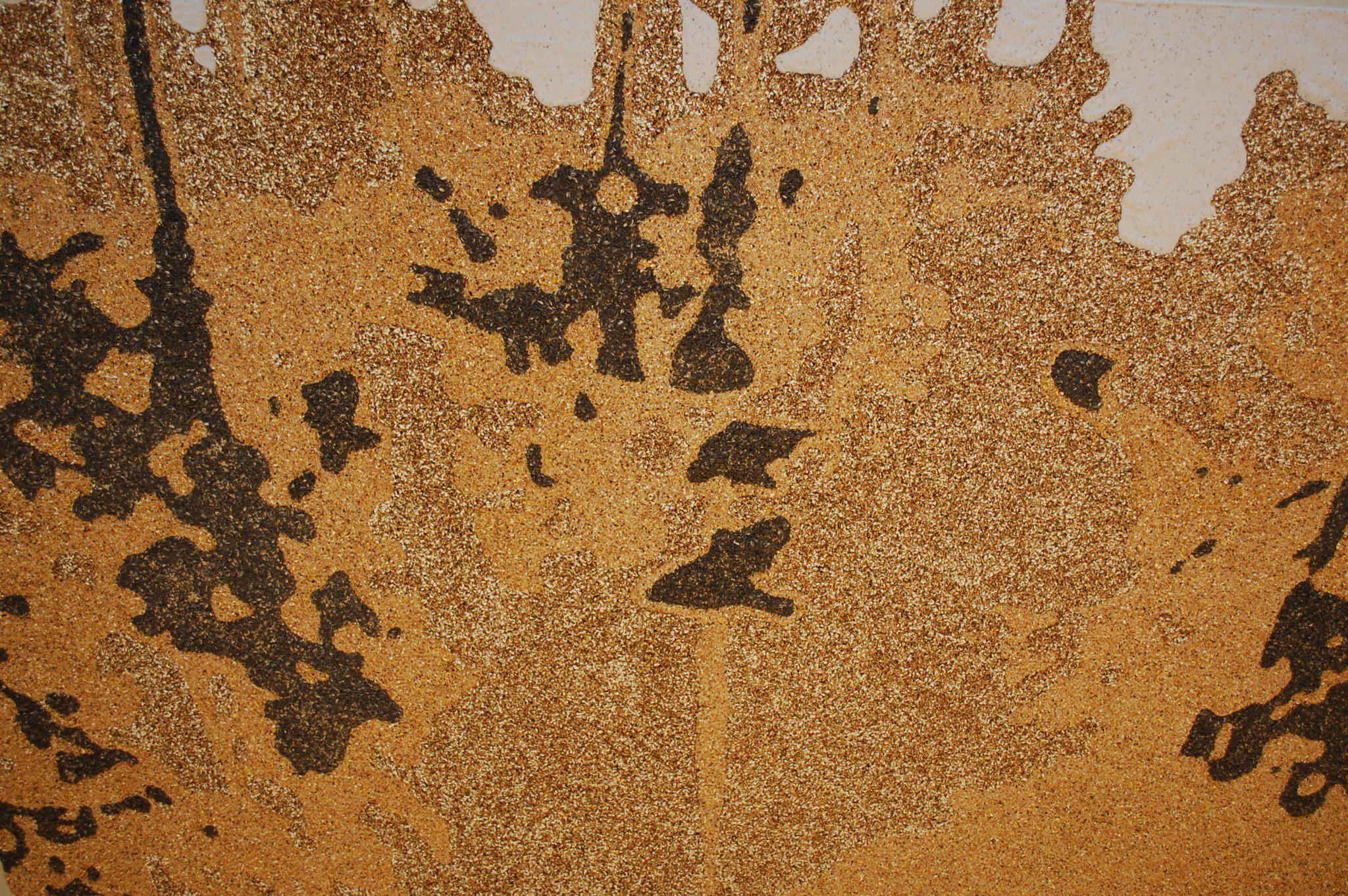 'Reflectie' ca.3x4m. Vogelvoederzaad, mozaïek van zaden, detail